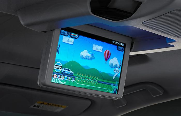 Close up view of the Honda Pilot's rear entertainment system screen