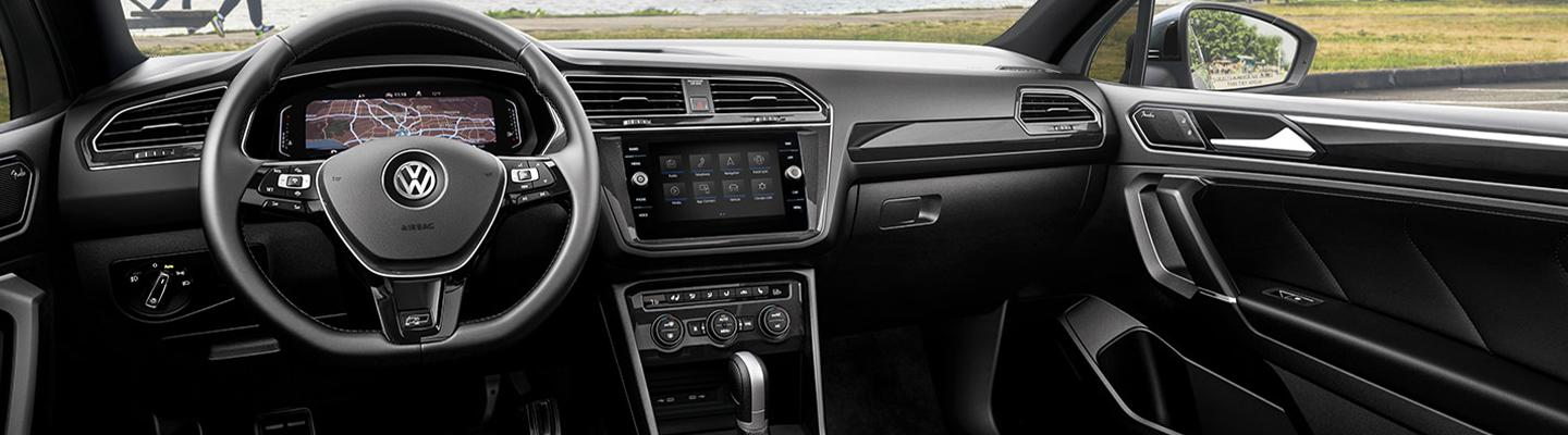Interior view of a Volkswagen vehicle's dashboard and infotainment system