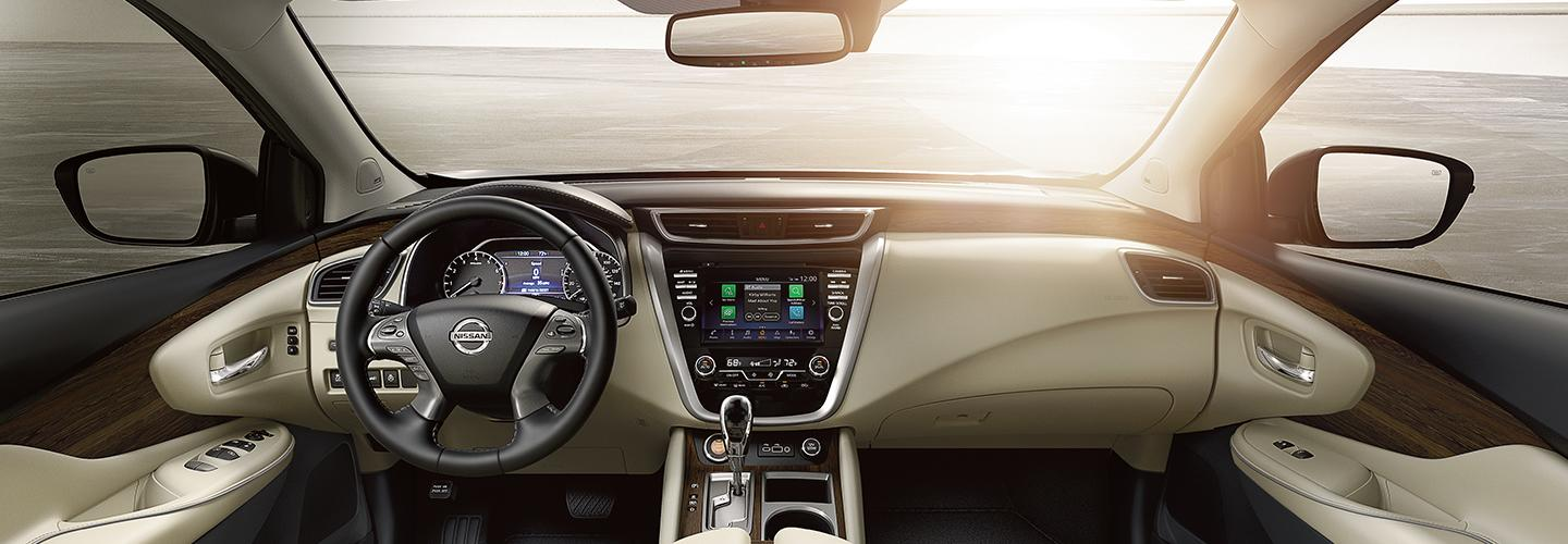 Interior view of a Nissan Murano's dashboard and touch screen display