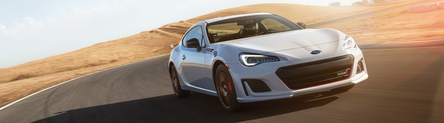 White 2020 Subaru BRZ in motion