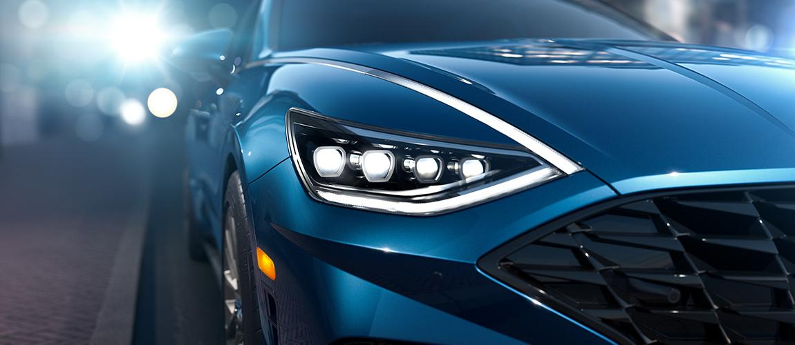 Close up of a blue 2020 Hyundai Sonata