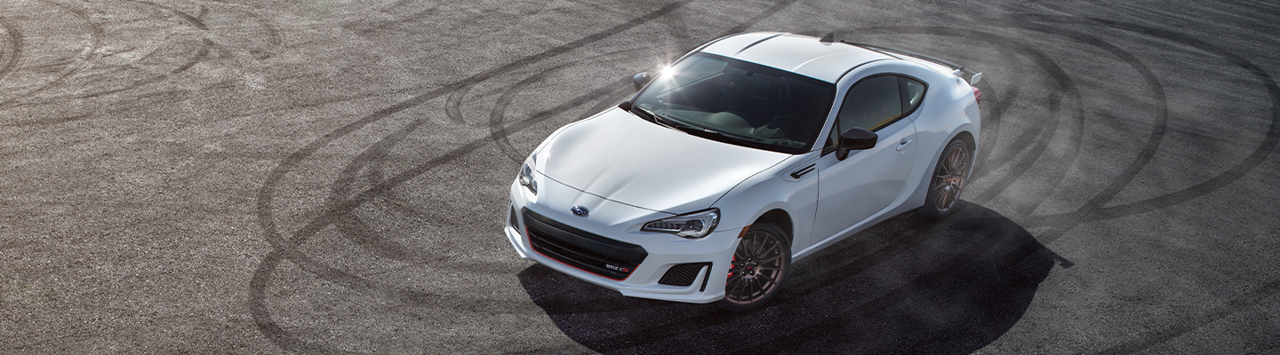 Aerial view of a white 2020 Subaru BRZ parked