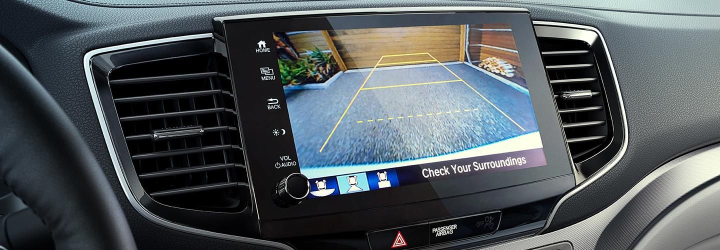 2021 Ridgeline display showing the Multi-Angle rearview camera