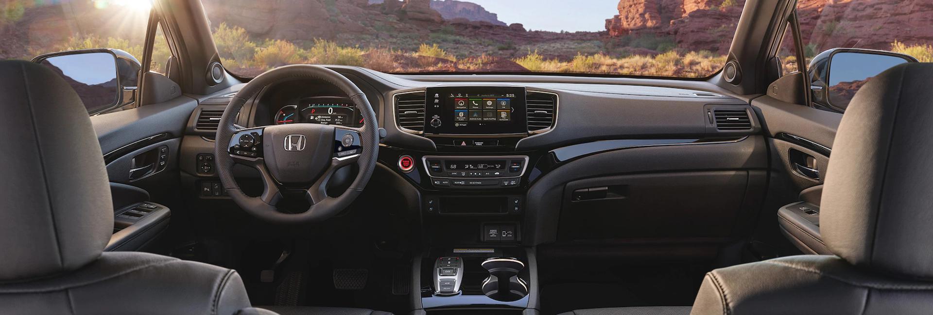 Rear-seat perspective of a Honda Passport's interior