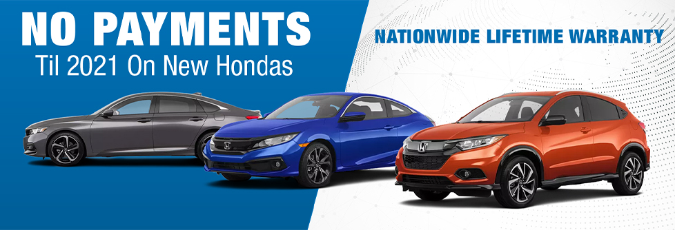 No Payments on New 2021 Hondas