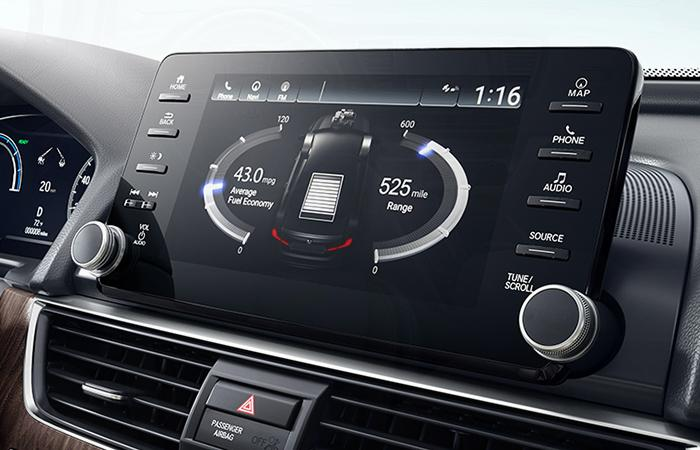 Close up view of a Honda Accord's infotainment system