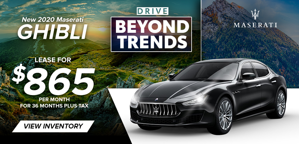 New 2020 Maserati Ghibli - Lease for $865/ Month for 36 Months plus tax