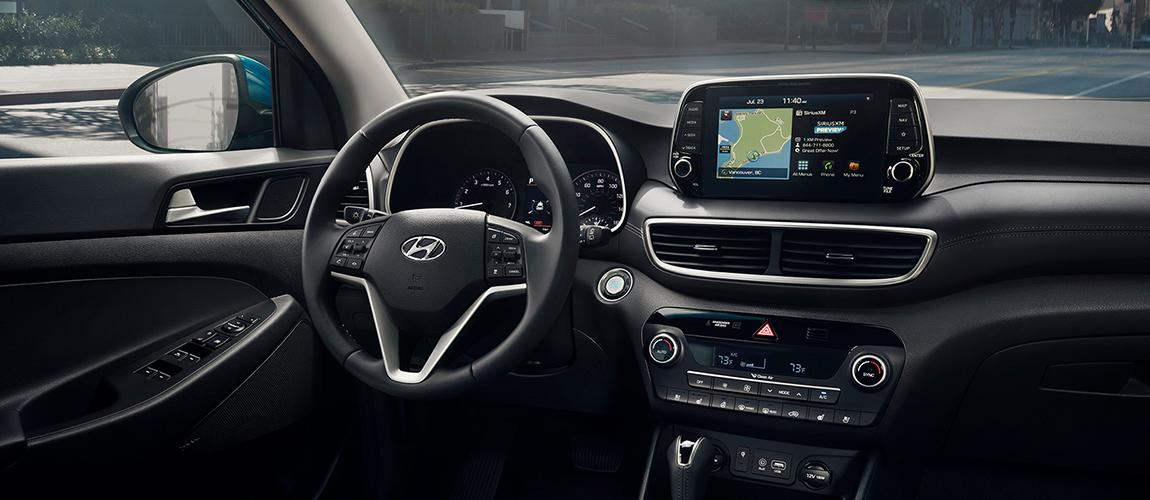 Close up of the steering wheel and interior of a 2020 Hyundai Tucson