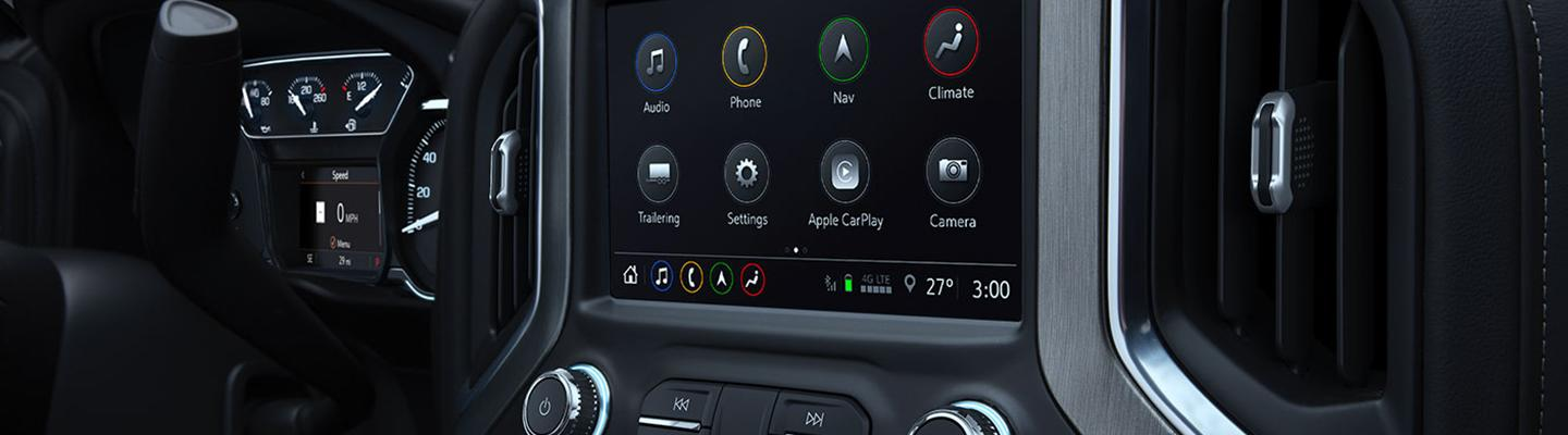 Close up view of a GMC Sierra 1500's infotainment system