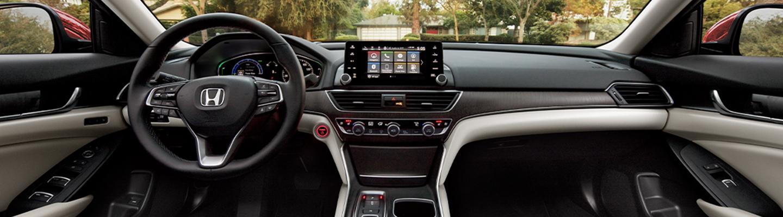 Full interior view of a Honda Hybrid sedan