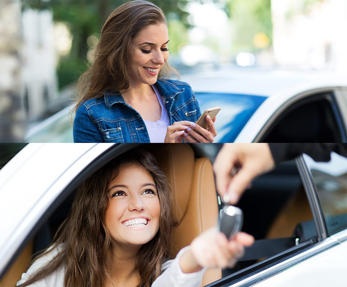 Two images girl on iphone and girl in car getting speking with service attendant