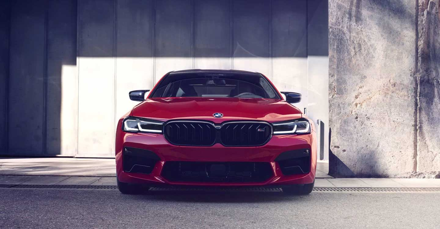 Red BMW front view