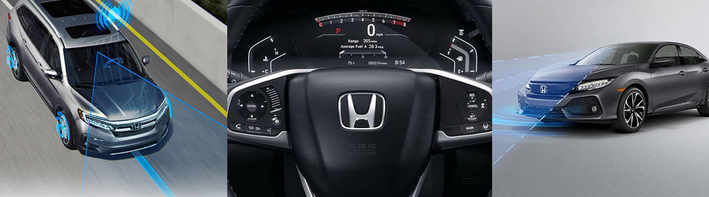 Three images showcasing Honda Sensing technology inside and outside of the vehicle.