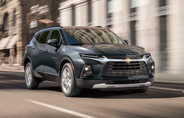 FRONT VIEW OF BLACK 2021 CHEVY BLAZER