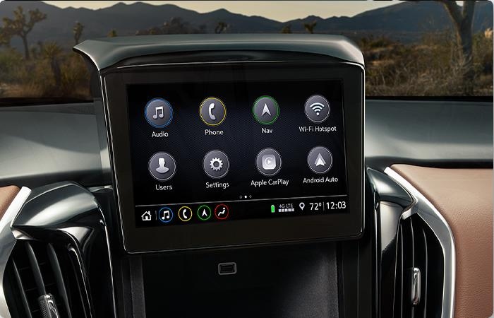 Close up view of a Chevy Traverse's infotainment system
