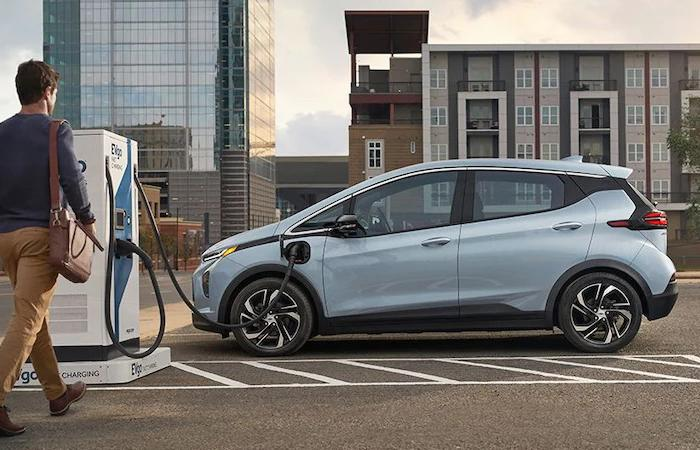 Side profile of a Chevy Bolt EV charging