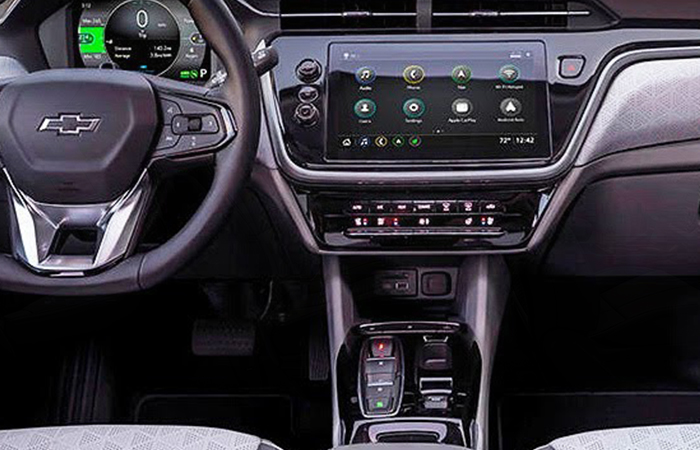 Close up view of a Chevy Bolt EV's steering wheel and infotainment system