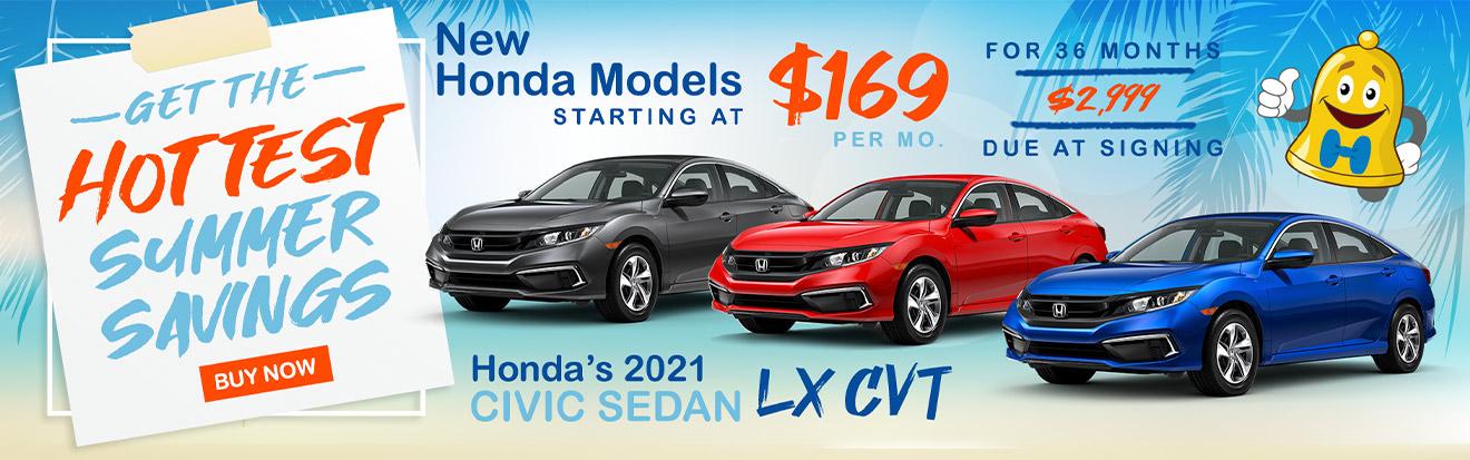 Hottest Summer Savings Promotional Banner showing Honda models