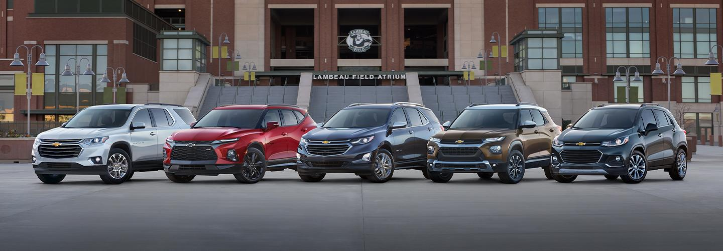 Line of Chevy models.
