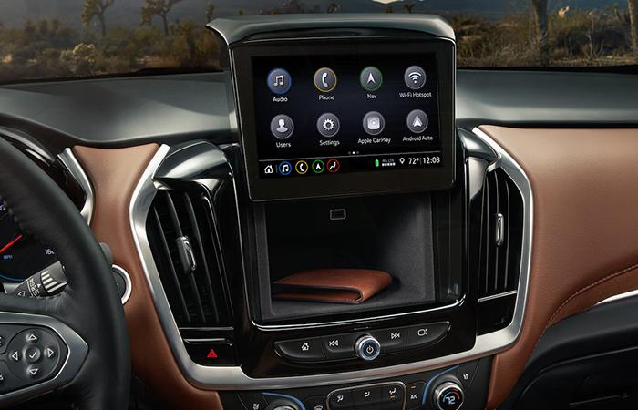 Close up view of a Chevy Traverse's touchscreen
