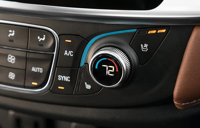 Close up view of the dashboard of a Chevy Traverse