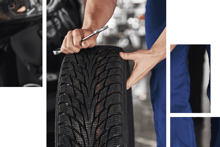 Service Technician looking at the tire tread
