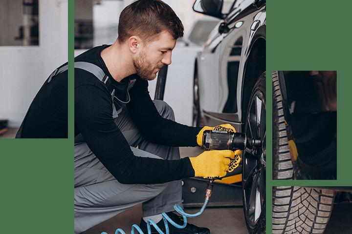 Nissan Service Technician tightening lug bolts on a tire