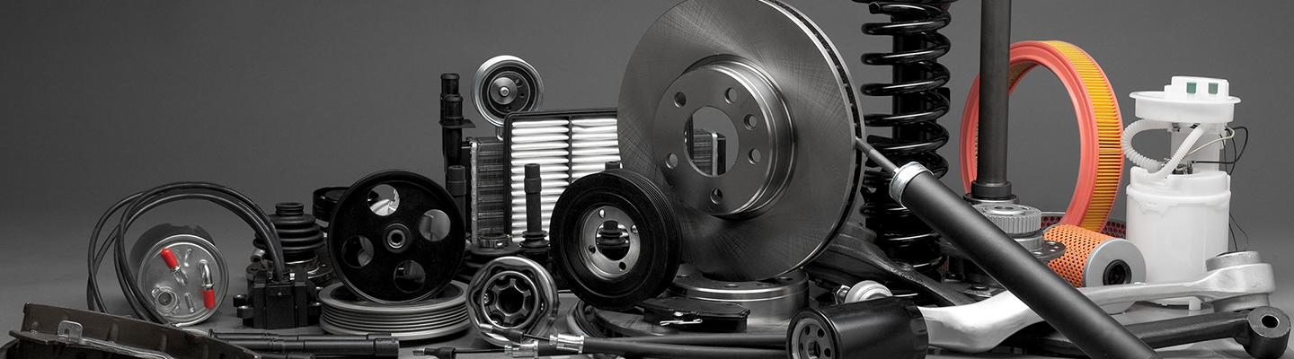Close up view of OEM car parts on a display table