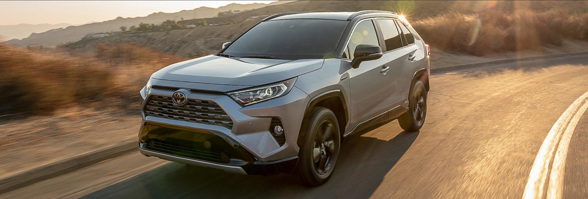 Angled view of a 2021 Toyota RAV4 in motion