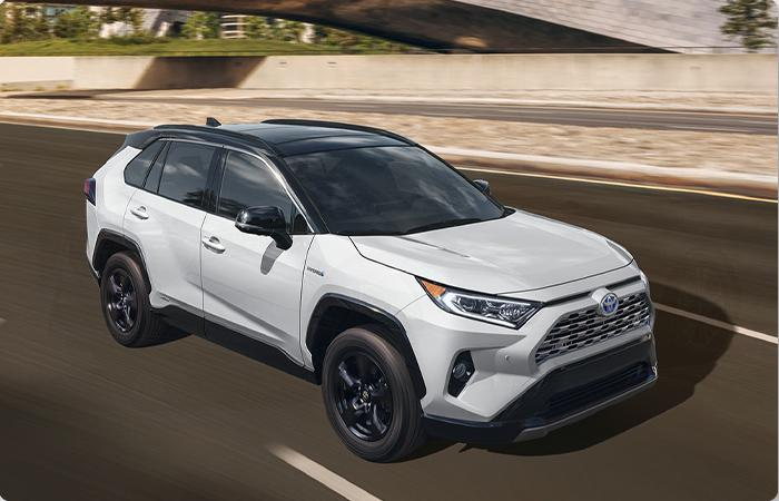 Side profile of a 2021 Toyota RAV4 on the Road