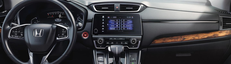 Close up view of a Honda CR-V's LCD display and dashboard