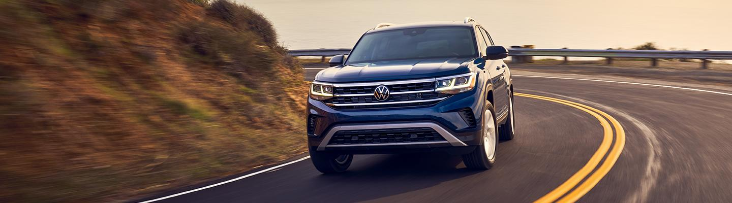 2021 VW Atlas in motion on a mountain side road