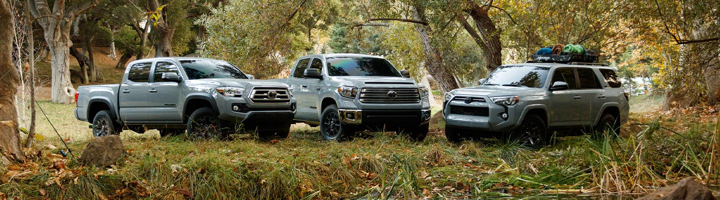 The line up of Toyota off-road vehicles.