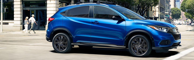 blue honda hrv driving
