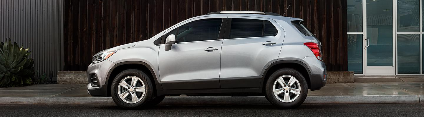 Side profile view of a Sliver 2021 Chevy Trax