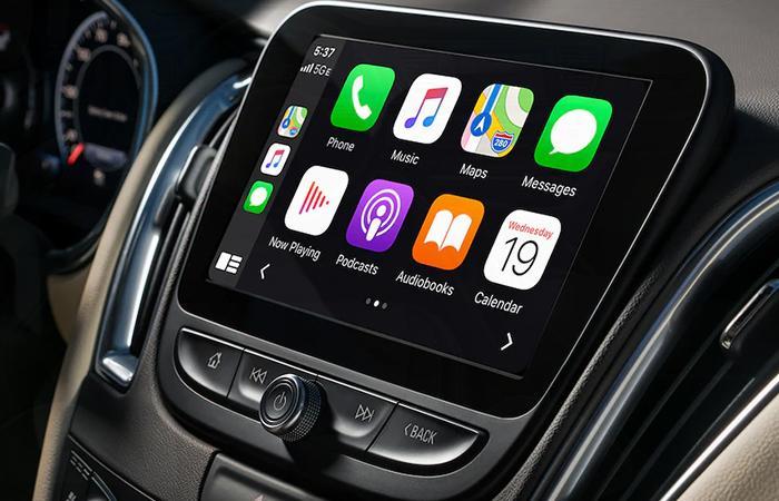 Angled profile of a Chevy Malibu touchscreen
