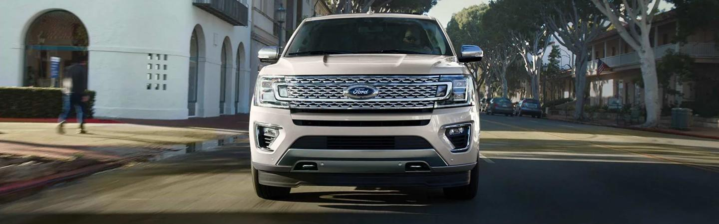 Front view of a white Ford Expedition
