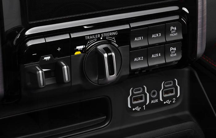 Close up view of the 2021 RAM TRX controls