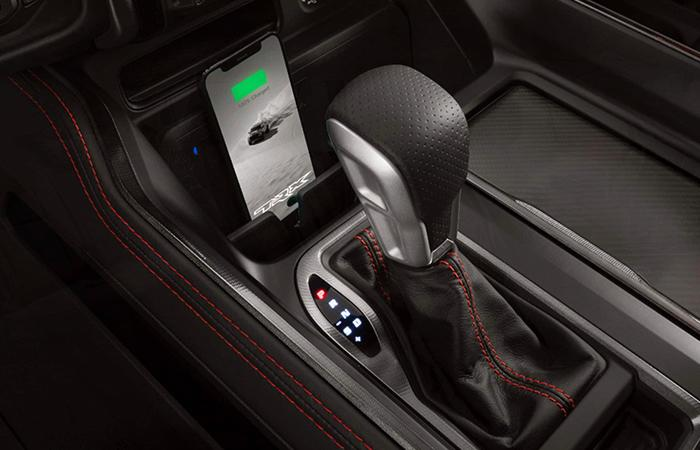 Detailed view of the 2021 Ram 1500 TRX's shifter