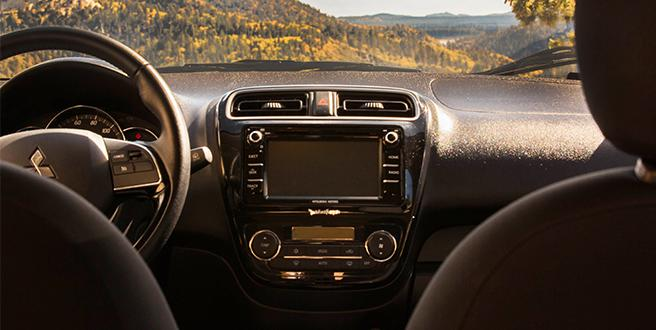 View from the backseat of 2020 Mitsubishi Mirage at the dash