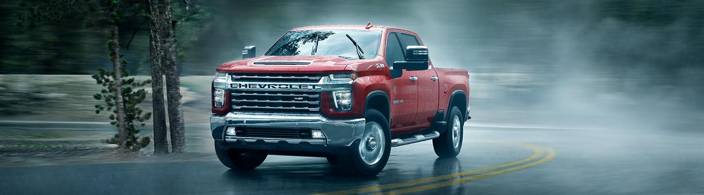 2021 Chevy Silverado driving in the rain in Amherst, OH