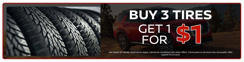 buy 3 tires get 1 for $1 offer