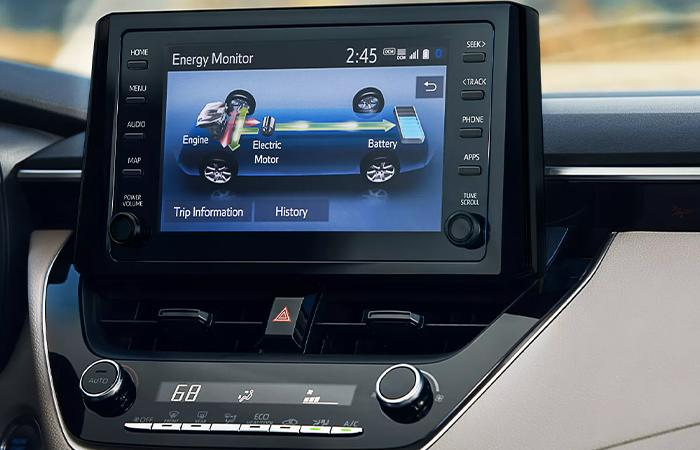 Close up view of a Toyota Corolla's infotainment system