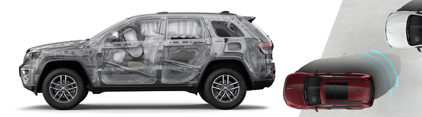 Side view of a 2020 Jeep Grand Cherokee's interior safety features