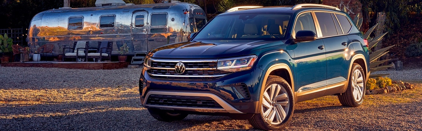 Front view of a blue 2021 Volkswagen Atlas parked