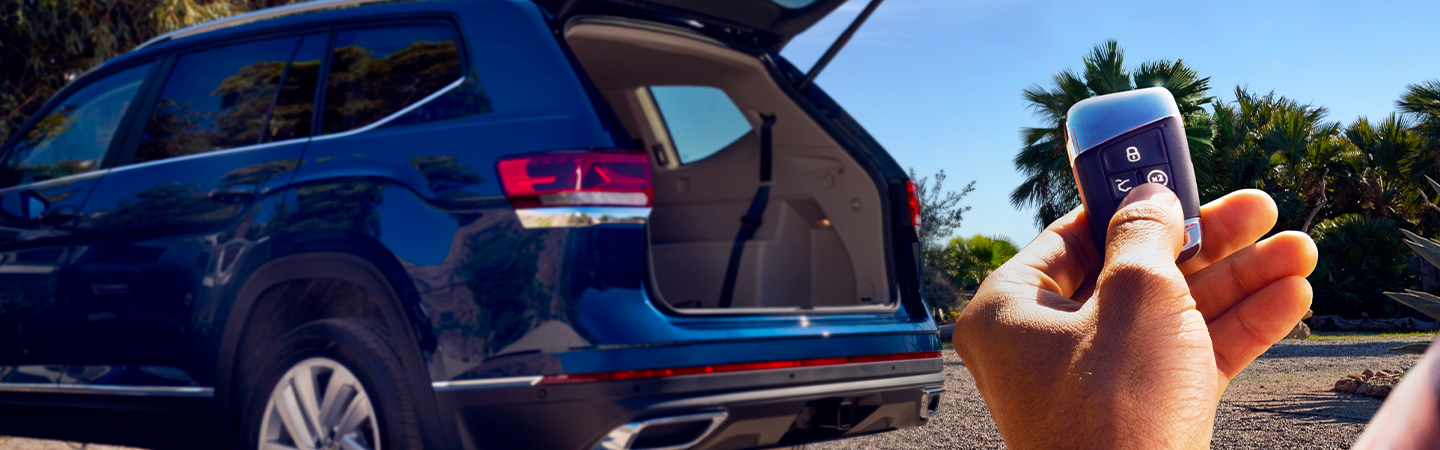 Rear view of the trunk of the 2021 Volkswagen Atlas opened