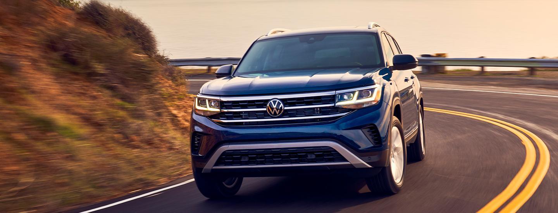 Front view of a blue Volkswagen Atlas