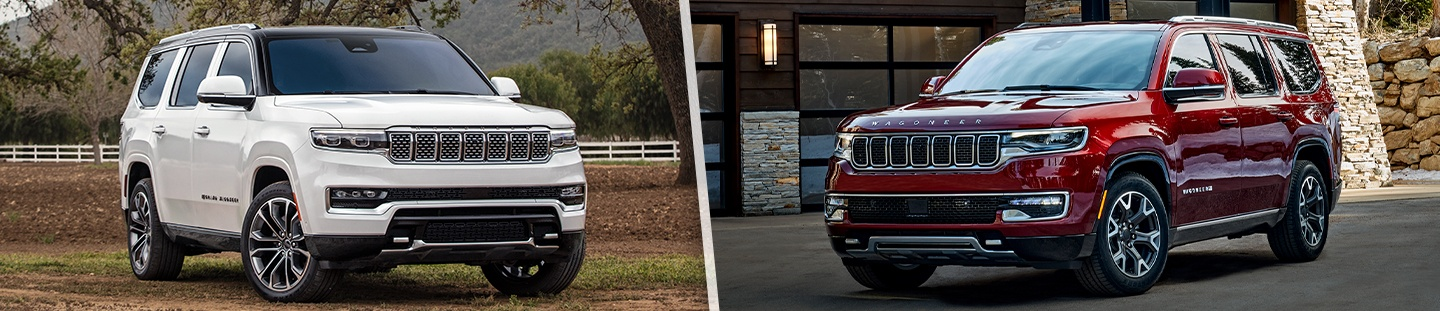 Jeep 2022 Wagoneer and Grand Wagoneer side by side parked