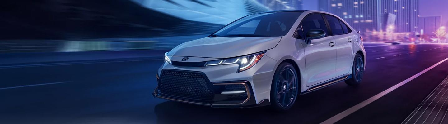 Front driver view of the 2021 Corolla in motion