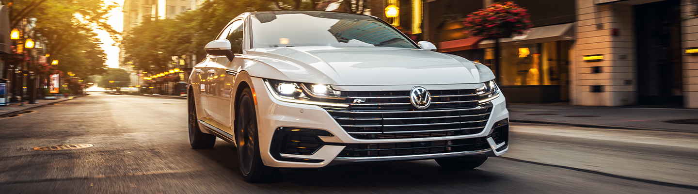 Front view of a white 2020 Volkswagen Arteon